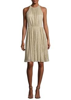 Halston Heritage Sleeveless Textured Metallic Cocktail Dress