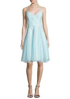 Halston Heritage Sleeveless Textured-Stripe Dress