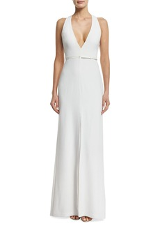 Halston Heritage Sleeveless Trapeze-Back Gown