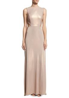 Halston Heritage Sleeveless Twist-Back Metallic Jersey Column Gown