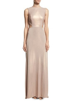 Halston Heritage Sleeveless Twist-Back Metallic Jersey Column Gown
