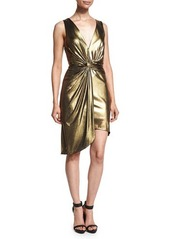 Halston Heritage Sleeveless Twist-Front Metallic Dress