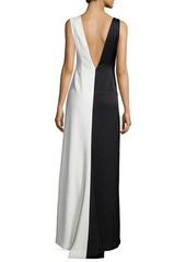 Halston Heritage Sleeveless Two-Tone Evening Gown