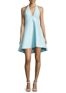 Halston Heritage Sleeveless V-Neck A-line High-Low Cocktail Dress