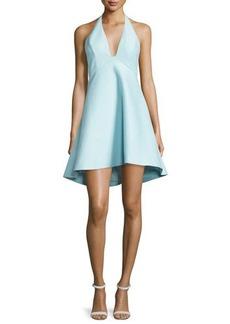 Halston Heritage Sleeveless V-Neck A-line High-Low Cocktail Dress