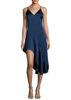 Halston Heritage Sleeveless V-Neck Asymmetric Flounce Satin Cocktail Dress