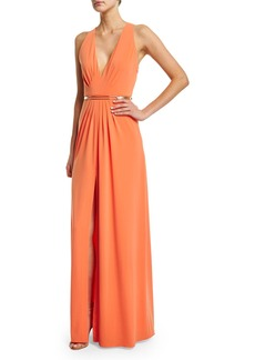 Halston Heritage Sleeveless V-Neck Belted Gown