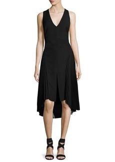 Halston Heritage Sleeveless V-Neck Crepe Dress w/ Pleated Georgette Insets