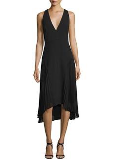 Halston Heritage Sleeveless V-Neck Dress W/ Pleated Sides