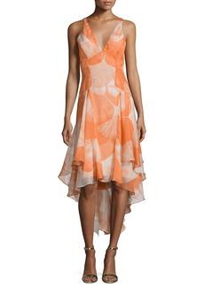 Halston Heritage Sleeveless V-Neck High-Low Dress
