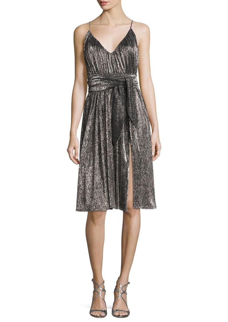 Halston Heritage Sleeveless V-Neck Lurex® Jersey Midi Dress