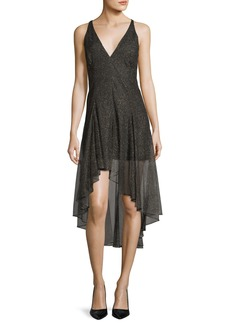Halston Heritage Sleeveless V-Neck Metallic Lace Cocktail Dress