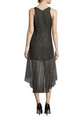 Halston Heritage Sleeveless V-Neck Metallic Lace Cocktail Dress