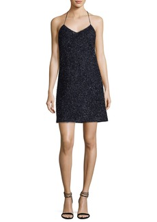 Halston Heritage Sleeveless V-Neck Metallic Slip Cocktail Dress