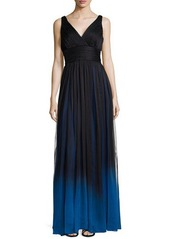 Halston Heritage V-Neck Structured Gown