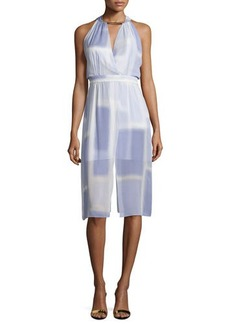 Halston Heritage Sleeveless V-Neck Printed Dress