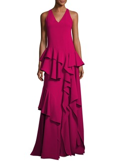 Halston Heritage Sleeveless V-Neck Ruffled Flounce Evening Gown