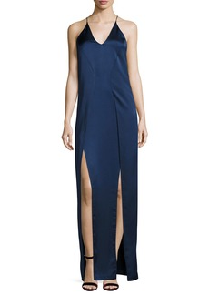 Halston Heritage Sleeveless V-Neck Satin Slip Evening Gown