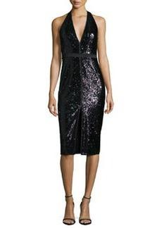 Halston Heritage Sleeveless V-Neck Sequined Cocktail Dress