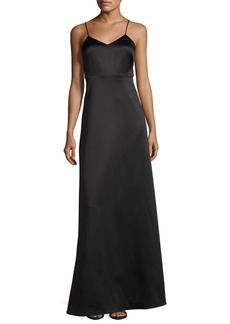 Halston Heritage Sleeveless V-Neck Structured Evening Gown