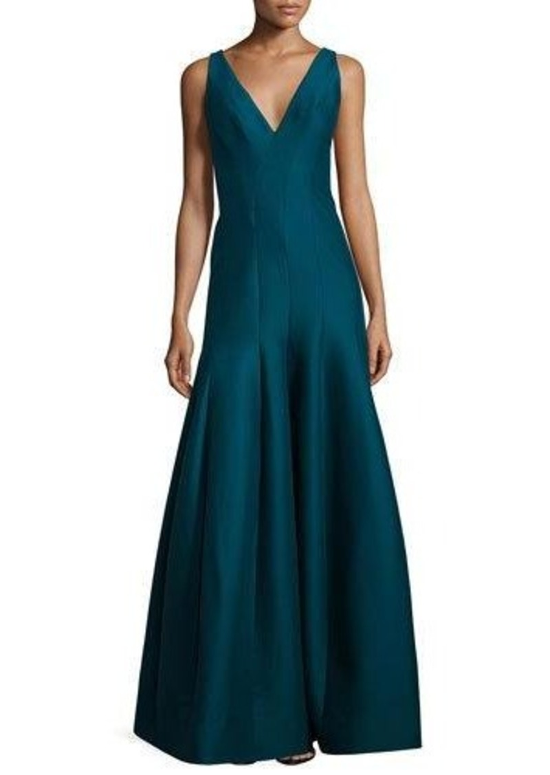 Halston Heritage Sleeveless V-Neck Structured Gown