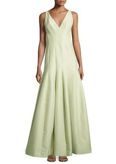 Halston Heritage Sleeveless V-Neck Structured Gown