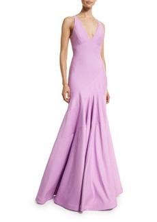 Halston Heritage Sleeveless V-Neck Tulip Gown