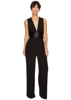 Halston Heritage Sleeveless V-Neck Wide Leg Jumpsuit w/ Wrap Tie