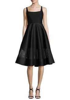 Halston Heritage Sleeveless Wide-Neck Stripe Mesh Cocktail Dress