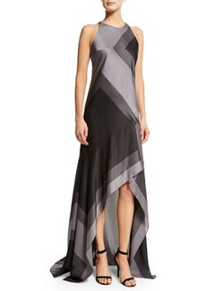 Halston Heritage Sleeveless Wide-Striped A-Line Gown
