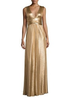 Halston Heritage Sleeveless Wrap Metallic Jersey Gown
