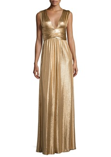 Halston Heritage Sleeveless Wrap Metallic Jersey Gown