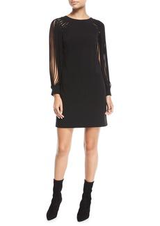 Halston Heritage Slit Long-Sleeve Mini Dress