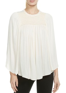 HALSTON HERITAGE Smocked Ruffled Top