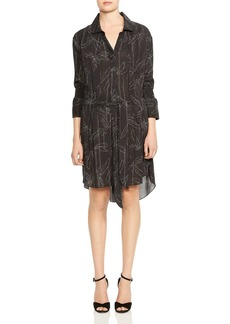 HALSTON HERITAGE Smocked-Sleeve Botanical-Print Shirt Dress
