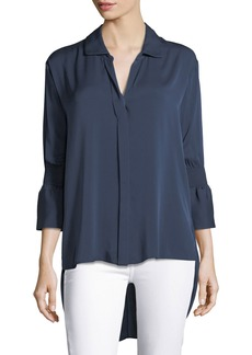 Halston Heritage Smocked-Sleeve Georgette Shirt
