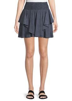 Halston Heritage Smocked-Waist Dot-Print Mini Skirt