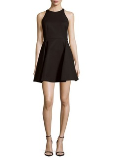 Halston Heritage Solid Cotton-Blend Fit-&-Flare Dress