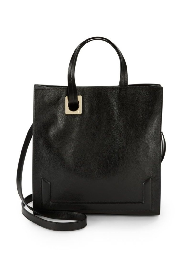 Halston Heritage Solid Leather Convertible Crossbody Tote