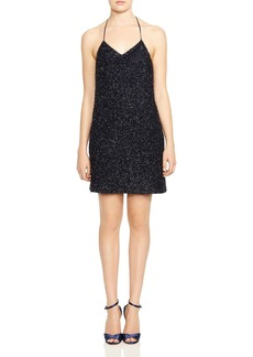 HALSTON HERITAGE Sparkling Metallic Slip Dress