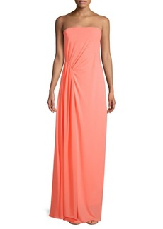 Halston Heritage Strapless Pleated Long Dress