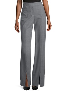 Halston Heritage Straight-Leg Suiting Pants w/ Front Slits