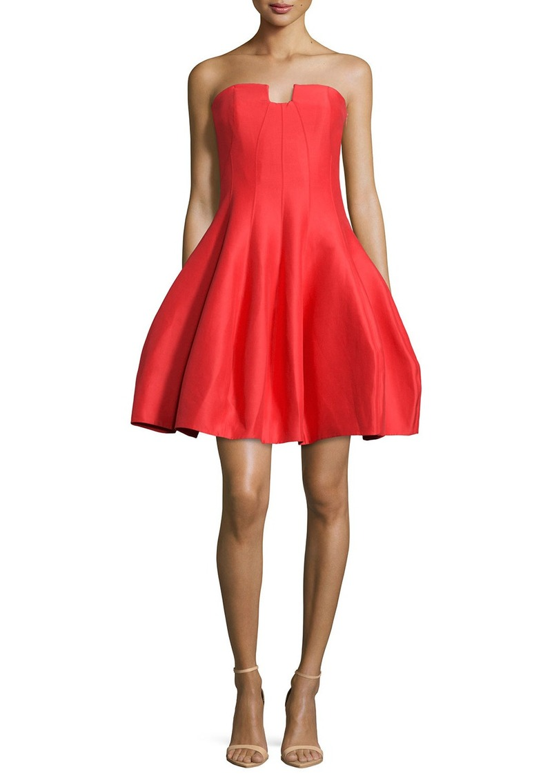 Halston Heritage Strapless A-Line Cocktail Dress