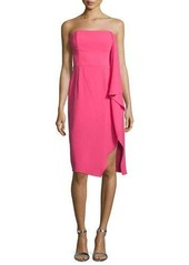 Halston Heritage Strapless Asymmetric Draped Cocktail Dress
