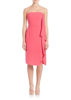 Halston Heritage Strapless Asymmetrical Flowy Drape Dress
