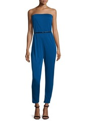 Halston Heritage Strapless Belted Jumpsuit