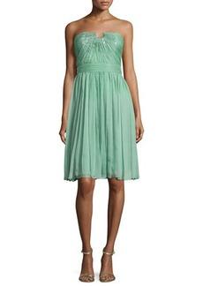 Halston Heritage Strapless Chiffon Dress