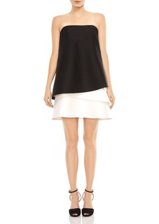 HALSTON HERITAGE Strapless Color-Blocked Dress