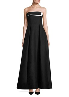 Halston Heritage Strapless Colorblock Faille Gown