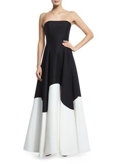 Halston Heritage Strapless Colorblock Structured Gown